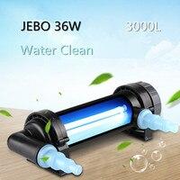 JEBO 36Wattage UV Sterilizer Lamp Water Cleaner Clarifier Light Ultraviolet Filter Aquarium Coral Koi Fish Tank Pond 3000L Algae