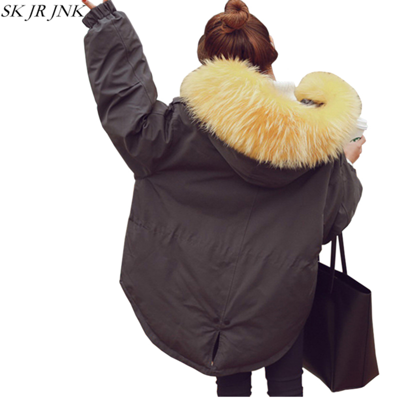 Thicken Loose Warm Wadded Jacket Fur Collar Hooded Parkas 2017 New Winter Women Fashion Vintage Plus Size Padded Long Coat HCY87 uwback 2016 new brand winter jacket women plus size 4xl faux fur collar down coat women black thicken padded parkas mujer tb1181