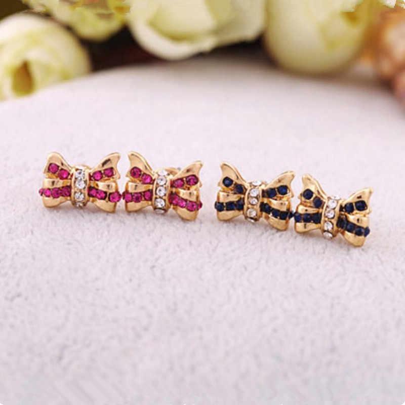 Eropa dan Amerika Perhiasan Grosir Busur Kristal Anting-Anting Kristal Anting-Anting Grosir Anting-Anting Manis Kecantikan
