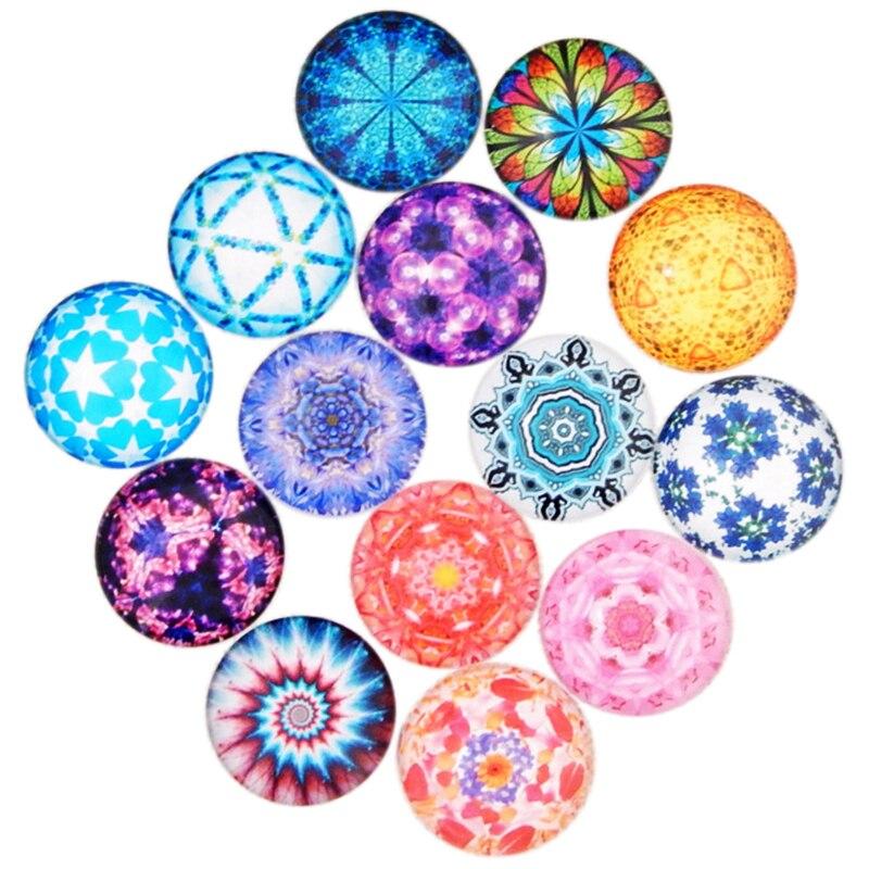 28pcs 20mm Diy Jewelry Accessories Owl Pattern Round Glass Patch Gem Wholesale