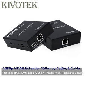 Image 1 - HDMI Extender Sender 150m by LAN CAT5E/6 Cable Adapter Network UTP Connector,Point to multipoint For HDTV PC Free Shipping