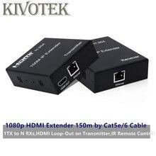 Przedłużacz hdmi Sender 150m przez LAN CAT5E/6 adapter do kabla sieciowego UTP złącze, punkt do multipoint dla HDTV PC darmowa wysyłka