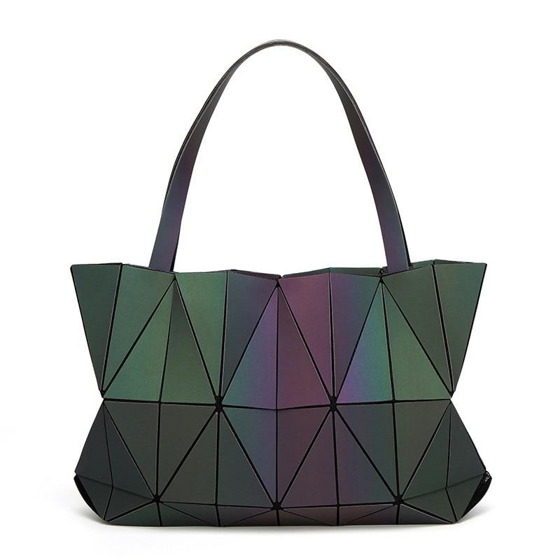2017 New Women Luminous Triangle BAOBAO Bag Geometry Package Matte Saser Plain Folding Ladies Handbags Sac