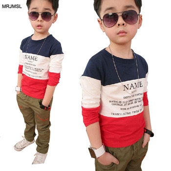 2020 fashion Kids Spring Autumn Clothes children t shirts for baby boys long sleeve T-shirts blue white red Girls Tops patchwork