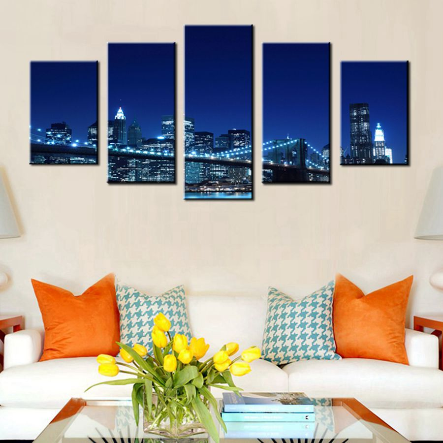Original Design Canvas Wall Art Prints Modern Abstract Cityscape Brooklyn Bridge Painting Stretched and Framed Modern Colorful New York Skyline Buildings Picture for Home Office Decor 30x60