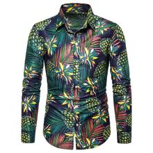 Flowers Hawaiian Shirt Mens clothing Pineapple pattern Long sleeve Men Shirts Fashion Casual Blouse New