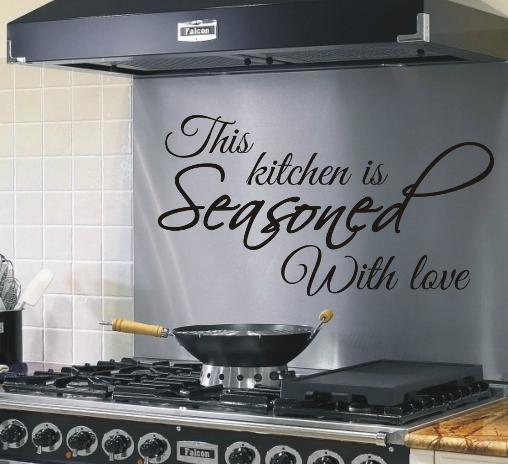 This Kitchen is Seasoned with Love Quote Funny Kitchen Wall Art Sticker Quote Decoration Wall Decals Mural Stickers ...