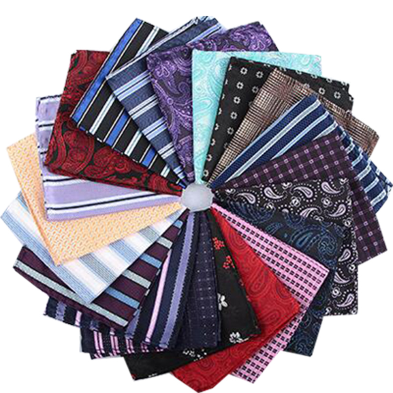 Jacquard Silk Handkerchief Floral Printed Solid Pocket Square Wedding 23cm*23cm Hankies For Men Brand Pocket Towel