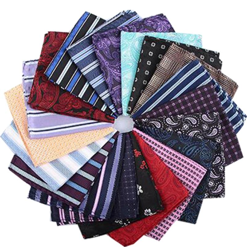 Jacquard Silk Handkerchief Floral Printed Solid Pocket Square Wedding 23cm*23cm Hankies For Men Brand Pocket Towel