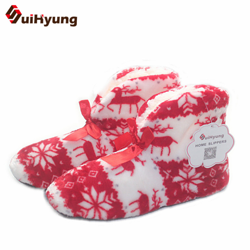 100% Real Photo Winter New Women's Warm Cotton Shoes Snowflake Deer Pattern Indoor Shoes Soft Bottom Non-slip Floor Home Slipper цена
