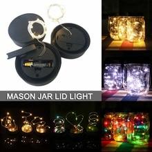 1M/2M LED Mason Jar Lid Light String Garden Christmas Decor AAA Battery Operated  Fairy D40