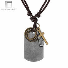 Fgifter Military Dog-Tag Necklace for Men Cool Army Jewelry Adjustable Leather Chain Choker Male Necklaces