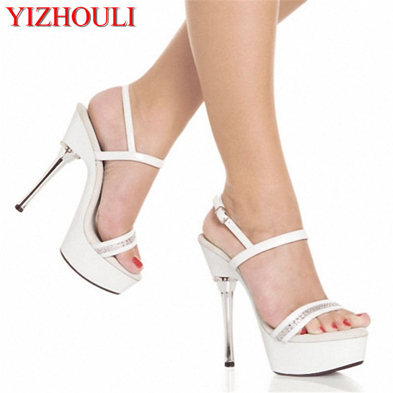e9c9db2e0b0 5 inch Crystal Platform Sandal with Rhinestone Straps clear shoes lady  fashion high heels 14cm sexy clubbing Dance Shoes silver