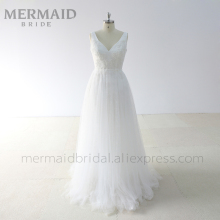 Mermaid Bride Backless Beaded Lace bohemian Wedding Dress