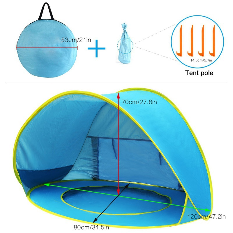 USA Shipping waterproof Kids awning tent kid outdoor camping sunshade Baby beach tent uv-protecting sunshelter with a pool