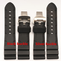 The latest silicone strap with rubber butterfly buckle waterproof lightning silicone strap 24 mm for Panerai PAM111