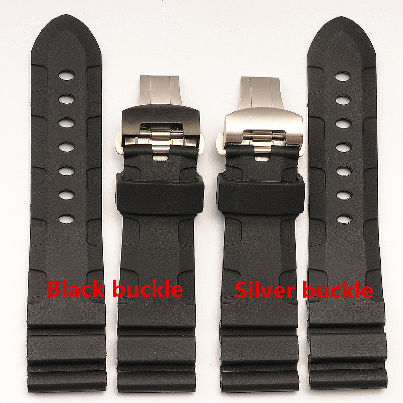 The latest silicone strap with rubber butterfly buckle waterproof lightning silicone strap 24 mm for Panerai PAM111 все цены