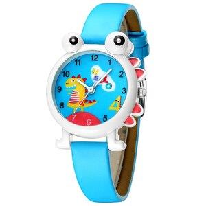 Image 1 - KDM Lovely Cartoon Dinosaur Children Watch Cute Kids Boys Waterproof Watches Genuine Leather Kid Wristwatch Students Clock