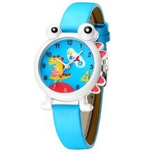 Kdm 사랑스러운 만화 공룡 어린이 시계 귀여운 아이 소년 방수 시계 정품 가죽 아이 손목 시계 학생 시계