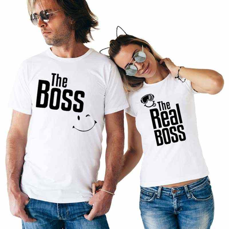 428f73a477 THE REAL BOSS smile couple t shirt for husband and wife lover tee shirt  femme family