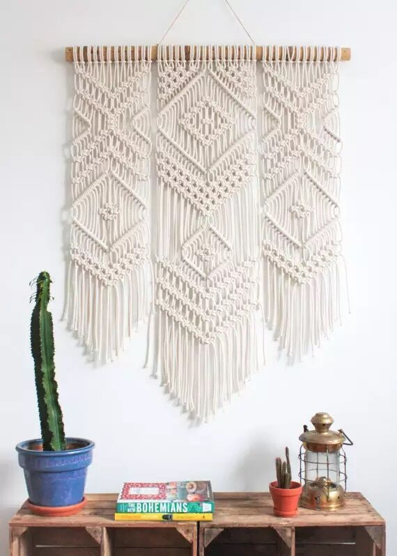 Macrame Handmade di Arte Della Parete Parete Appeso Arazzo con Tessuti di Pizzo di Cotone Della Boemia