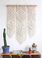 Macrame Wall Art Handmade Cotton Wall Hanging Tapestry with Lace Fabrics Bohemia