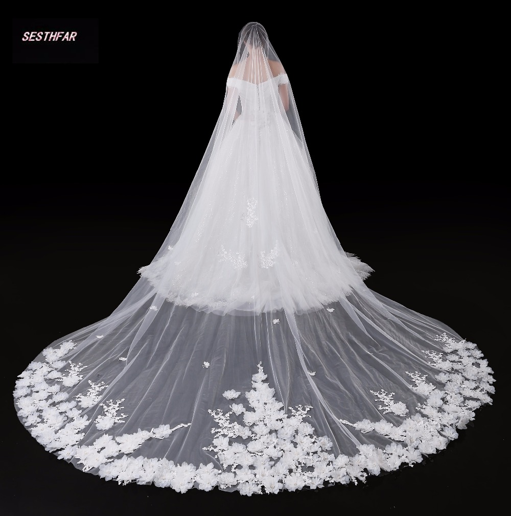 High Quality New Pattern The Veil Wedding Dress Overlength Princess Lace Lace Long Tailing Monolayer Bride Marry White The Veil