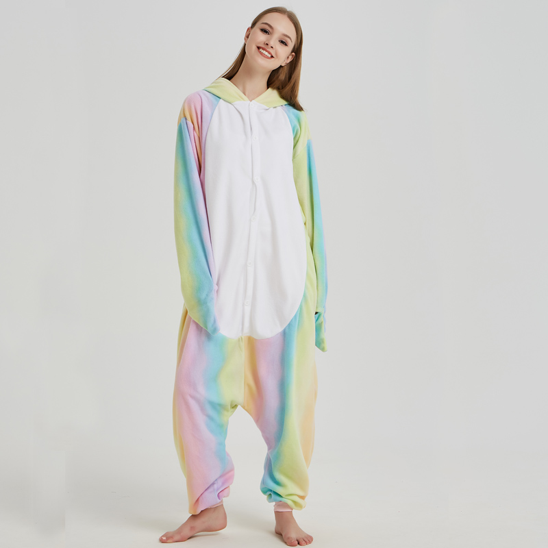 Nice Whale Onesies Pajamas Rainbow Polar Fleece Adult Kigurumi For Halloween Costume Animal One-piece Jumpsuit Cosplay Suit  (5)