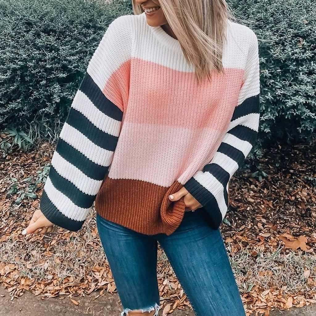 Негабаритный Розовый Полосатый лоскутный свитер женский простой трикотаж пуловер с круглым вырезом Осень Зима ленивый свободный джемпер Топ Kazak # Y3
