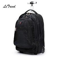Letrend Для мужчин Бизнес путешествовать 20 дюймов нести на чемодане колеса компьютерный рюкзак прокатки Чемодан ролики школьная сумка тележка
