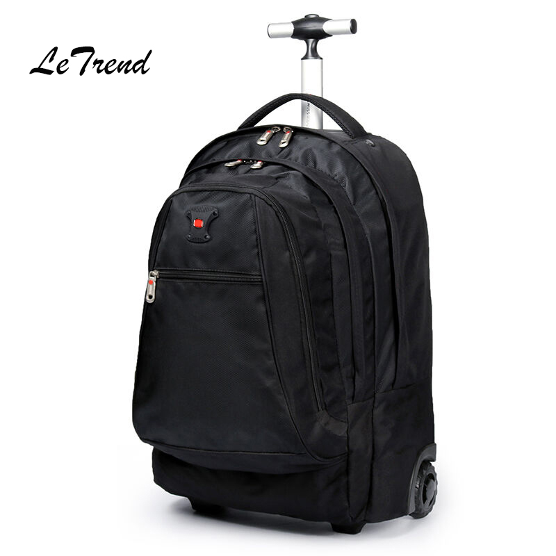 Letrend Men Business Travel Duffle 20 inch Carry On Suitcase Wheels  Computer Backpack Rolling Luggage Casters Trolley School Bag 7638d6b5481b8