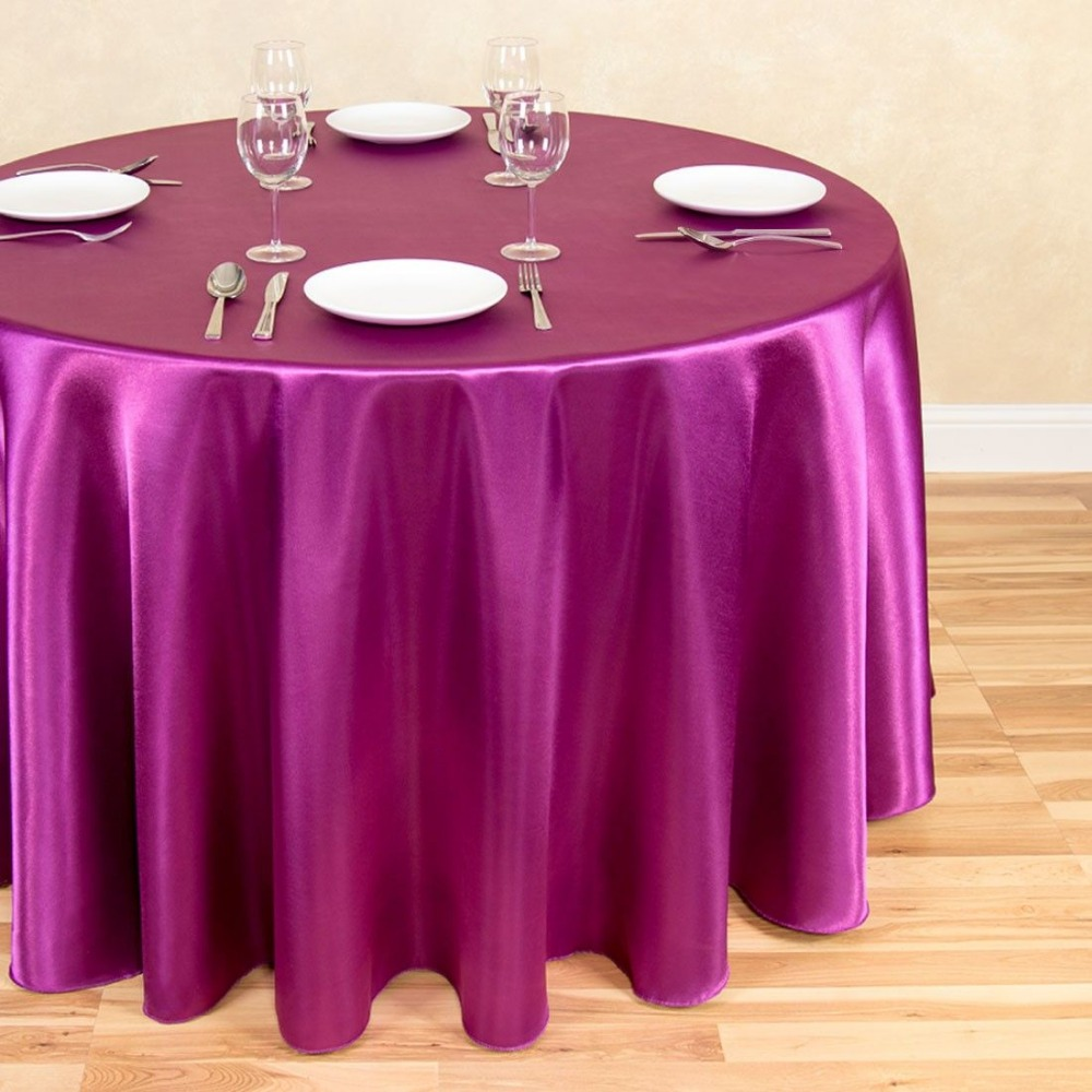 "10Pcs Purple Wine 70"" Round Elegant Satin Tablecloths Table Decoration For Wedding Party Banquet Free Shipping"