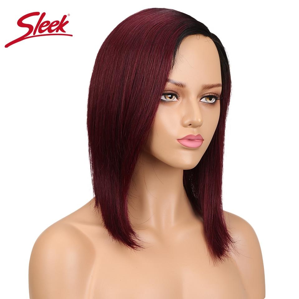 Sleek TT1B/99J Brazilian Side Part Bob Wig Non Lace Human Hair Bob Wigs Remy Wigs Straight Perruque Cheveux Humain