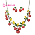 2016 Hot Sale Fashion Jewelry Sets Green Leaf Red Cherry Collar Necklace and Stud Earrings for Women Accessories