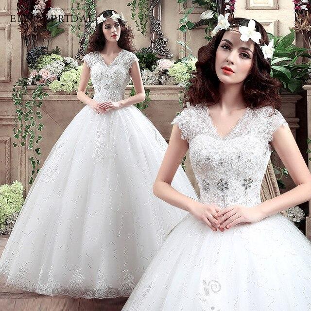 2018 Elegant Ball Gown Wedding Dress Vestido De Novia Cap Sleeve V ...