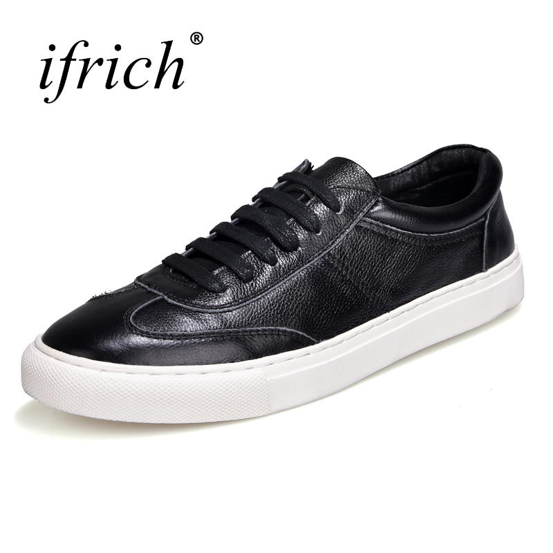 цены на Ifrich 2018 New Genuine Leather Casual Shoes Men White Black Mens Fashion Sneakers Lace Up Spring Summer Footwears в интернет-магазинах