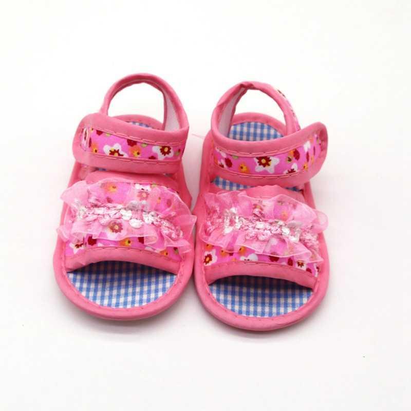Summer Toddler First Baby Boy Girl Shoes Princess Floral Hollow Sandals Children Shoes Print Flower Cotton Beach Sandals