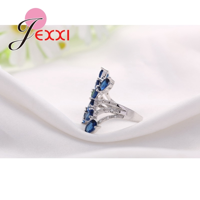 Jemmin Unique Design  Fashion Royal Blue CZ 925 Sterling Silver Party Ring Luxury Wedding Engagement Rings Gift