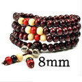 (30pcs/lot) Buddhist 108 beads 3color Sandalwood prayer beads malas,8mm,Fashion wooden beaded bracelet Couple bracelet Free shi