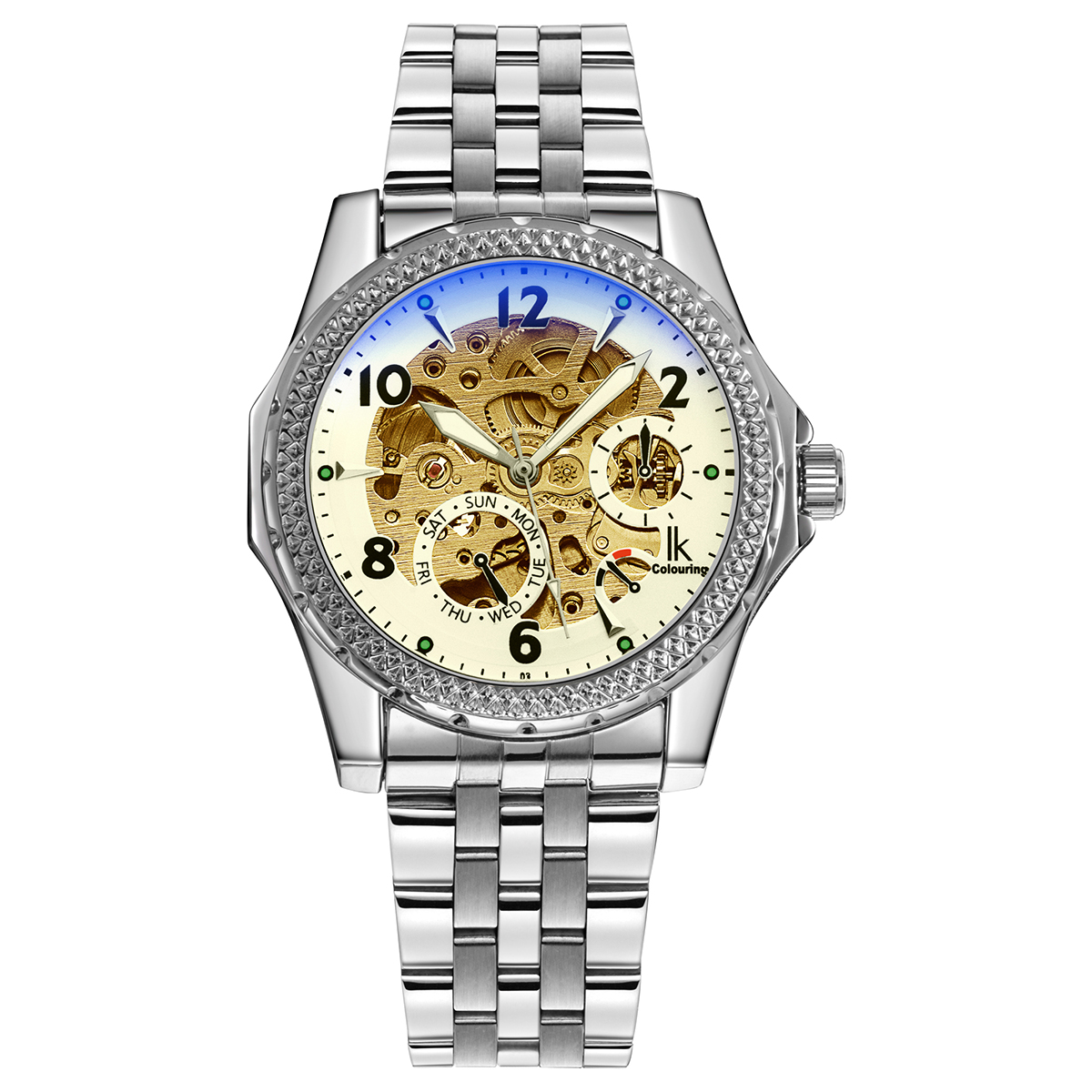 IK Colouring New Automatic Mechanical Men Watches Decorative Small Dials Luminous Pointer Hollow Stainless Steel Mens Wristwatch ik colouring automatic mechanical watch decorative small dials luminous pointer hollow back case stainless steel men wristwatch