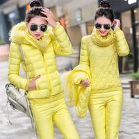 2016 Winter Women S Down Jacket Coat Lace Three Piece Suit Women Large Size Jacket Coat