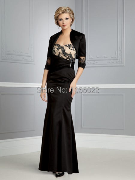 Hot Sale New Elegant Formal Wedding Party Dress Free Jacket Long Black Grandmother  Mother of the bride dress with sleeves c31d47704a6d