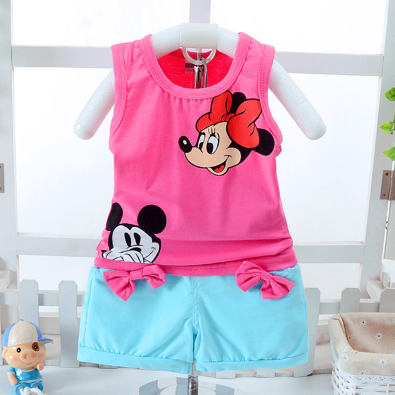 2018 new baby chidren Clothing Sets 0-4T vest + Pants 2 pcs Cartoon summer Girls Children clothes sets Baby girls kids clothes