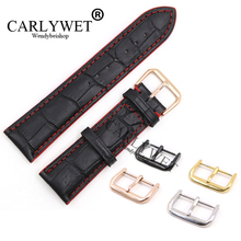 CARLYWET 18 20 22mm Black Real Leather Handmade Red Stitches Replacement Watch Band Strap With Silver Color Polished Buckle