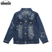 Star Pattern Boys Girls Denim Jacket Long Sleeve Spring Autumn Casual Style Kids Outerwear Coat Teens