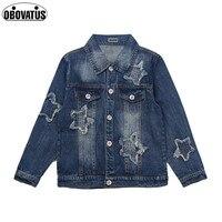 Star Pattern Boys Girls Denim Jacket Long Sleeve Spring Autumn Casual Style Kids Outerwear Coat Teens