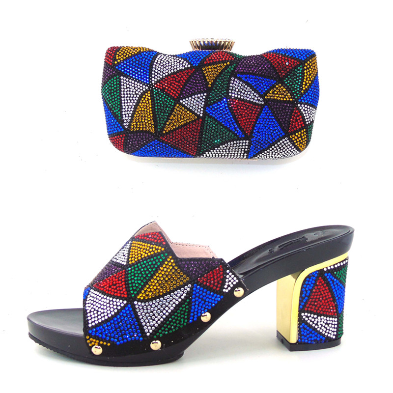 ФОТО Italian Shoe And Bag Set African Wedding Shoe And Bag Sets Italy Women Shoe And Bag To Match For Parties BLACKcolor 37-43 HHY1-4