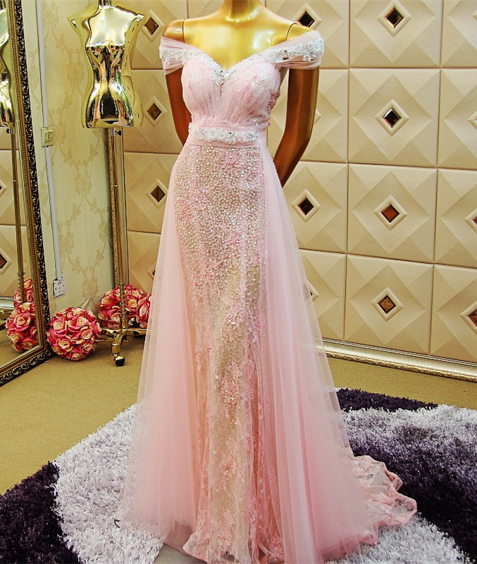 Custom Made 2015 New Beading Sequins A-line Pink   Evening     Dress   Formal   Evening   Gowns robes de soiree Caftan Dubai XE27