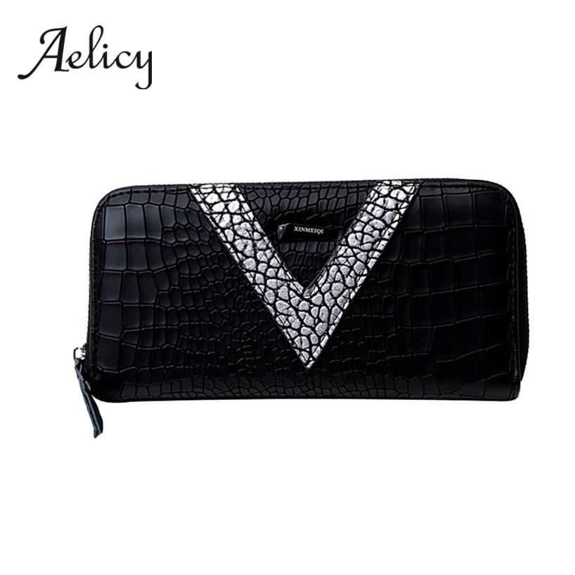 Aelicy Zipper Wallet Clutch Coin-Money-Bag Mobile-Phone-Handbag Long Purse Small Black
