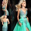 Luxury Crystals Short Cocktail Dresses With Detachable Train Sexy Spaghetti Backless Mini Party Gown